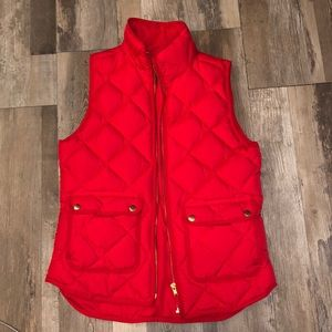J Crew red puffer vest. Size XS.